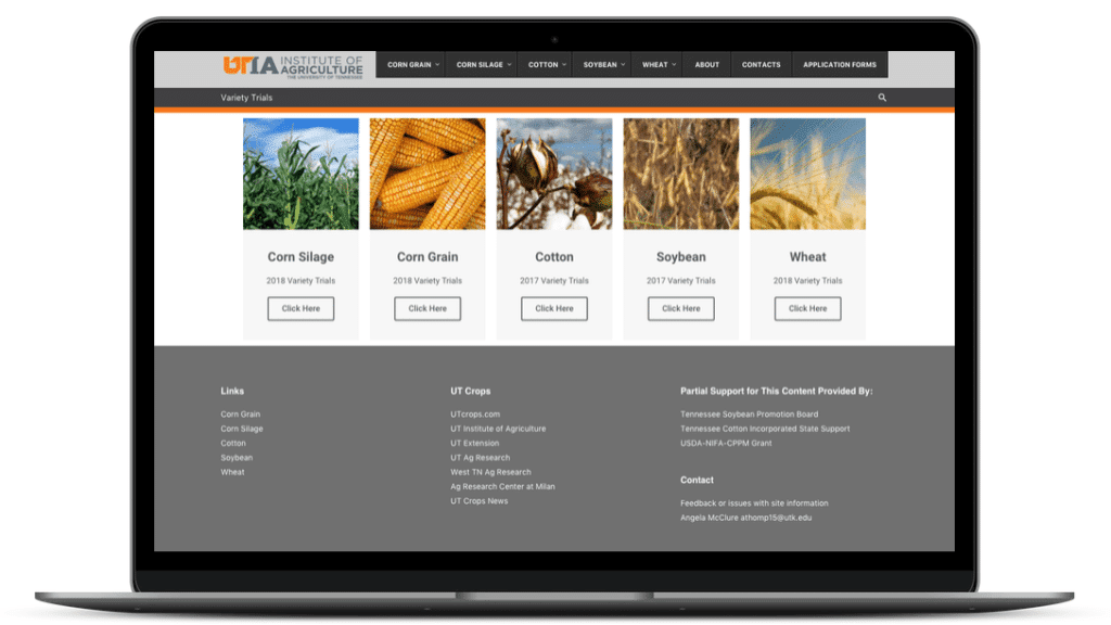 website design for UT Institute of Agriculture